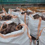 Split-stone-setts packed in big bags