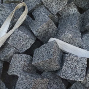 A bunch of Natural split setts from granite Grey Ukraine 10×10×10