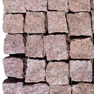 Natural split setts from red granite Maroon Black 10×10×5