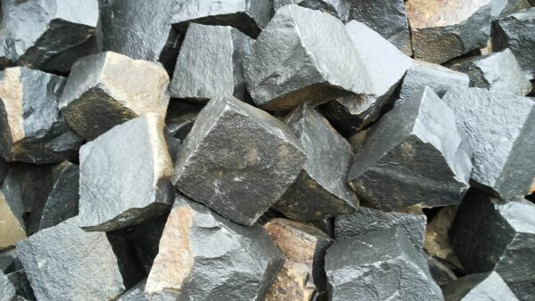 Some Natural split setts from black Basalt stone 10×10×10